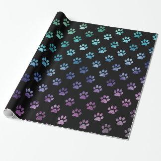 Dog Paw Print Green Blue Purple Rainbow Black Wrapping Paper