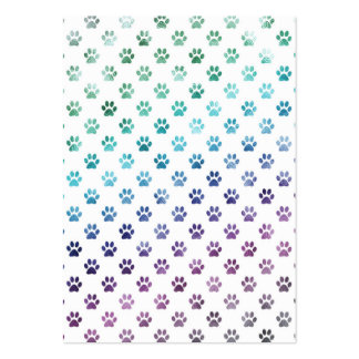 Dog Paw Print Green Blue Purple Rainbow White Pack Of Chubby Business Cards