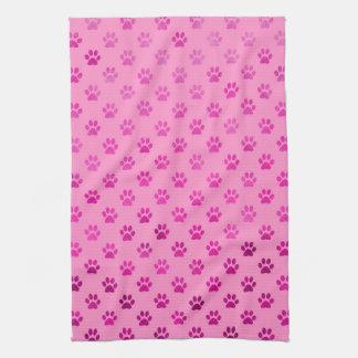 """Dog Paw Print """"Hot Pink"""" Pink Background Metallic Tea Towel"""