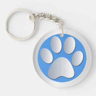 Dog paw print in silver & blue, gift Double-Sided round acrylic key ring