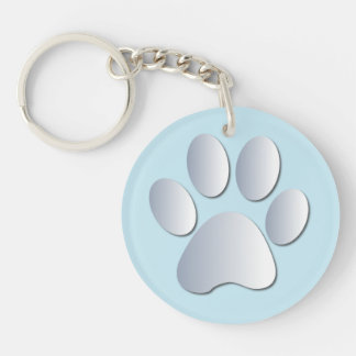 Dog paw print in silver & blue, gift Double-Sided round acrylic keychain