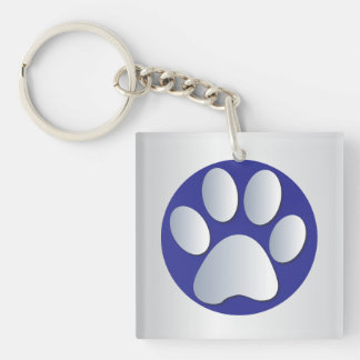 Dog paw print in silver & blue, gift Double-Sided square acrylic key ring