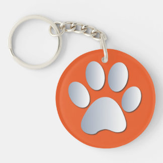 Dog paw print in silver & orange, gift key ring