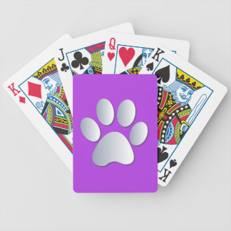 Dog paw print in silver & purple, gift bicycle playing cards
