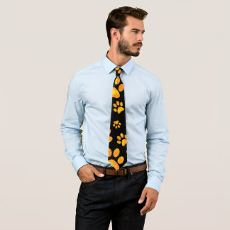 Dog Paw Print Orange Yellow Tie