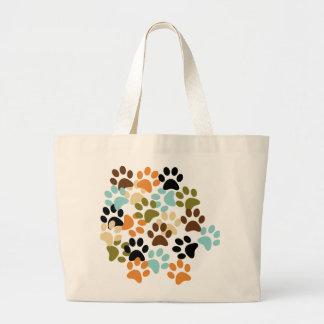 Dog paw print pattern canvas bag