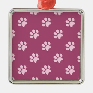 Dog Paw Print Pattern Silver-Colored Square Decoration