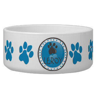 Dog paw print| personalized name dog food bowls