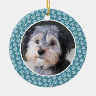 Dog Paw Print Photo Frame - single sided Christmas Ornament