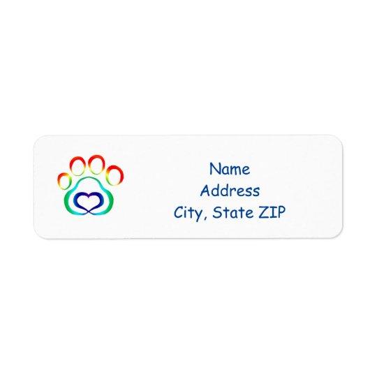 Dog Paw Print Return Address Label