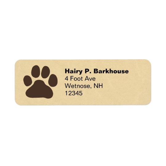 Dog Paw Print Return Address Labels