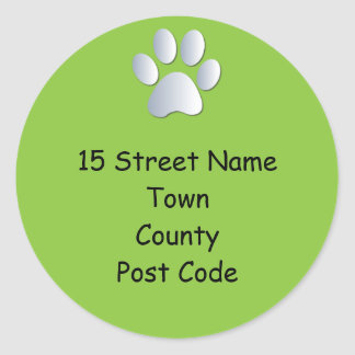 Dog paw print return address stickers