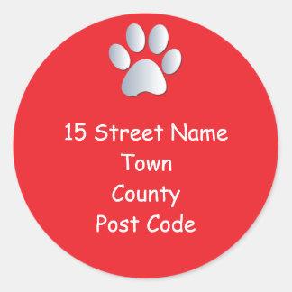Dog paw print return address stickers