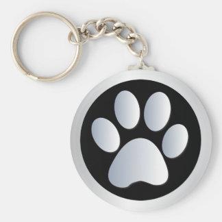Dog paw print  silver, black keychain, gift idea basic round button key ring