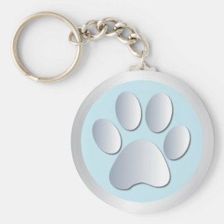 Dog paw print  silver, blue keychain, gift idea basic round button key ring