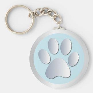 Dog paw print silver blue keychain gift idea