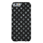 Dog Paw Print Silver Grey Black Background Barely There iPhone 6 Case