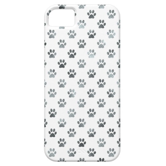 Dog Paw Print Silver Grey White Metallic Faux Foil Case For The iPhone 5