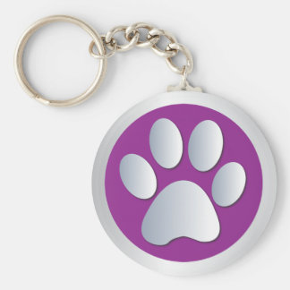 Dog paw print  silver, purple keychain, gift idea key ring