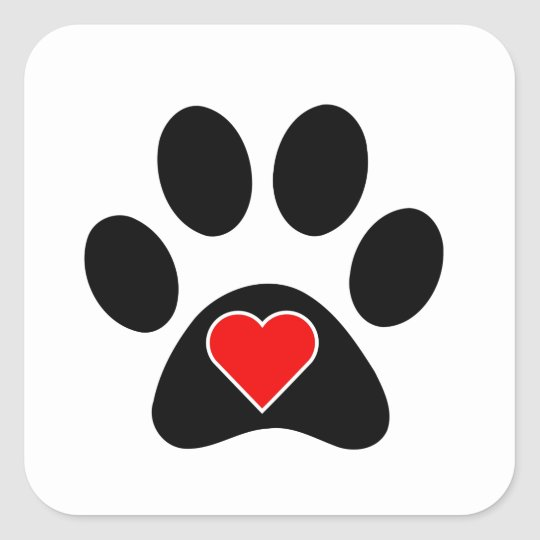 Dog Paw Print Square Sticker