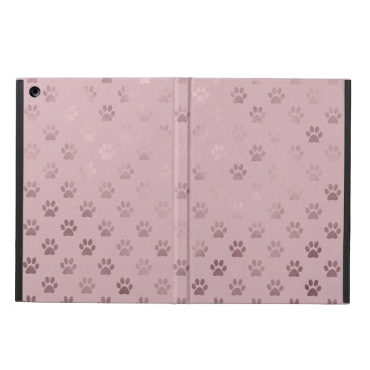 Dog Paw Print Vintage Rose Pink Background iPad