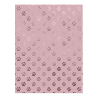 Dog Paw Print Vintage Rose Pink Background Postcard