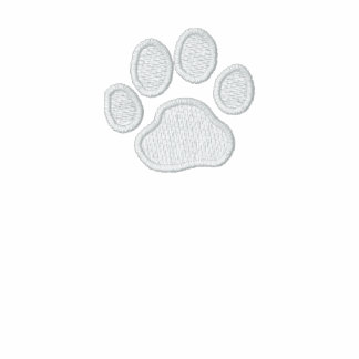 Dog Paw Print with Custom Text and Colors Embroidered Fleece Track Jacket