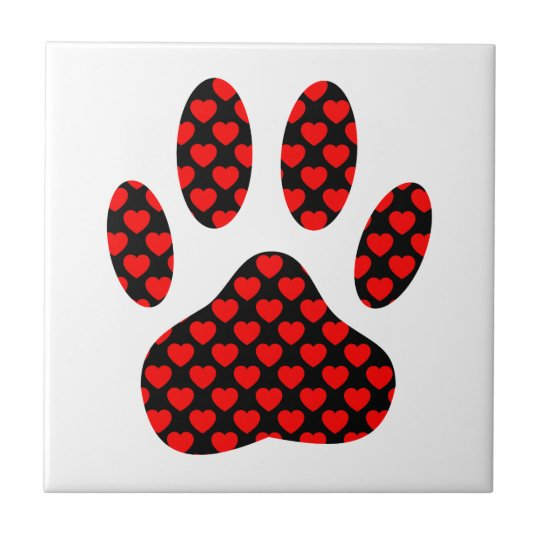Dog Paw Print With Hearts Small Square Tile