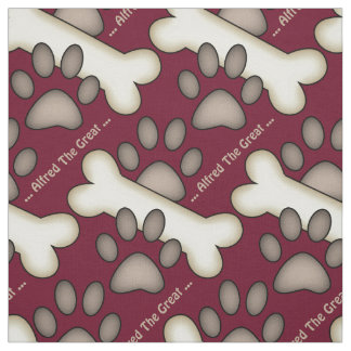Dog Paw Prints And Bones Custom Canine Fabric