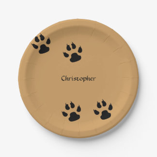 Dog Paw Prints (change background) Paper Plate