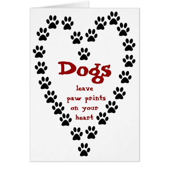 Dog Paw Prints Heart Card
