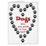 Dog Paw Prints Heart Note Card