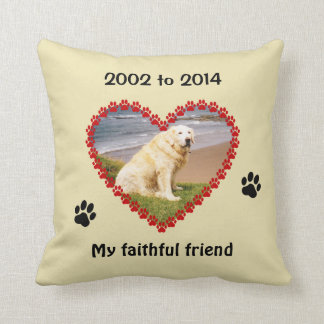 Dog paw prints memorial your photo pillow