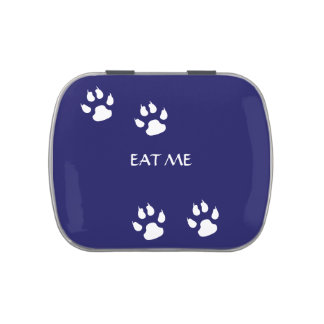 Dog Paw Prints on Blue Template Jelly Belly Tin