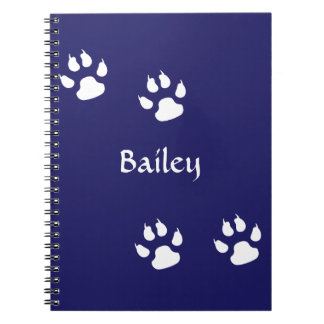 Dog Paw Prints on Blue Template Notebook