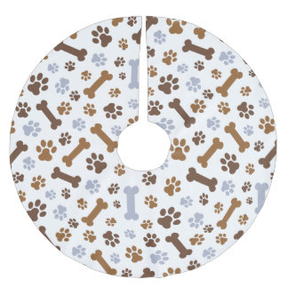 Dog Paw Prints Pattern Brushed Polyester Tree Skirt