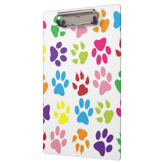 Dog paw prints pattern clipboard