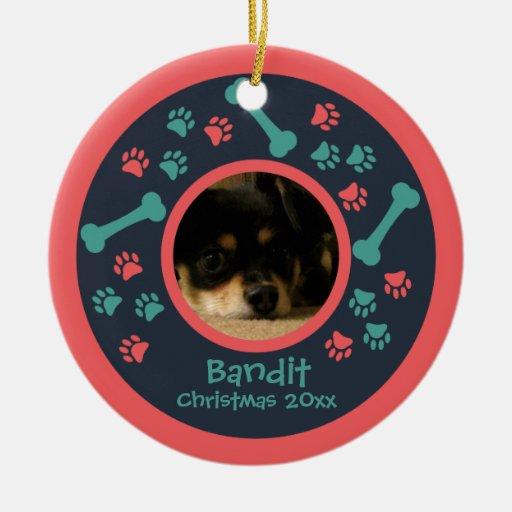 Dog Paw Prints Photo Ornament