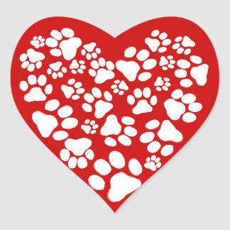 Dog Paw Prints Valentine Heart Heart Sticker