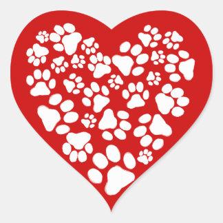 Dog Paw Prints Valentine Heart Heart Stickers