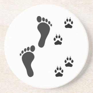 Dog paw prints with Human foot print Coaster