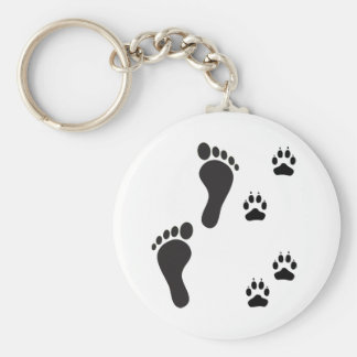 Dog paw prints with Human foot print Key Ring