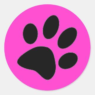 dog paw round sticker