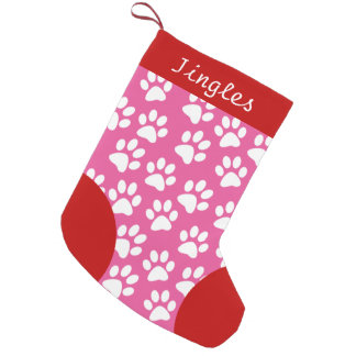 Dog Paw Themed Pink Personalized Christmas Small Christmas Stocking
