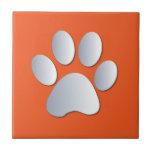 Dog pawprint silver, orange fun tile, trivet, gift small square tile