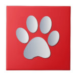 Dog pawprint silver, red fun tile, trivet, gift