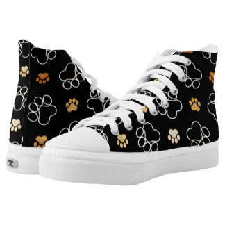 Dog Pawprint Tracks Black High Top Sneakers Shoes