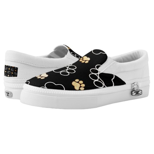 Dog Pawprint Tracks Black Slip On Sneakers Shoes