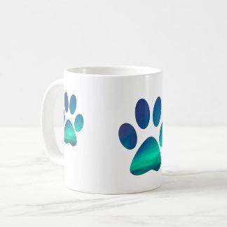 Dog Pawprints Aurora Northern Lights Coffee Mug