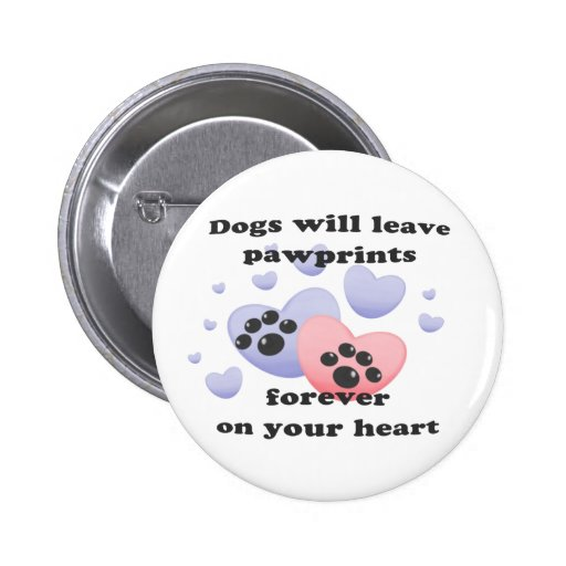 Dog Pawprints On The Heart Buttons